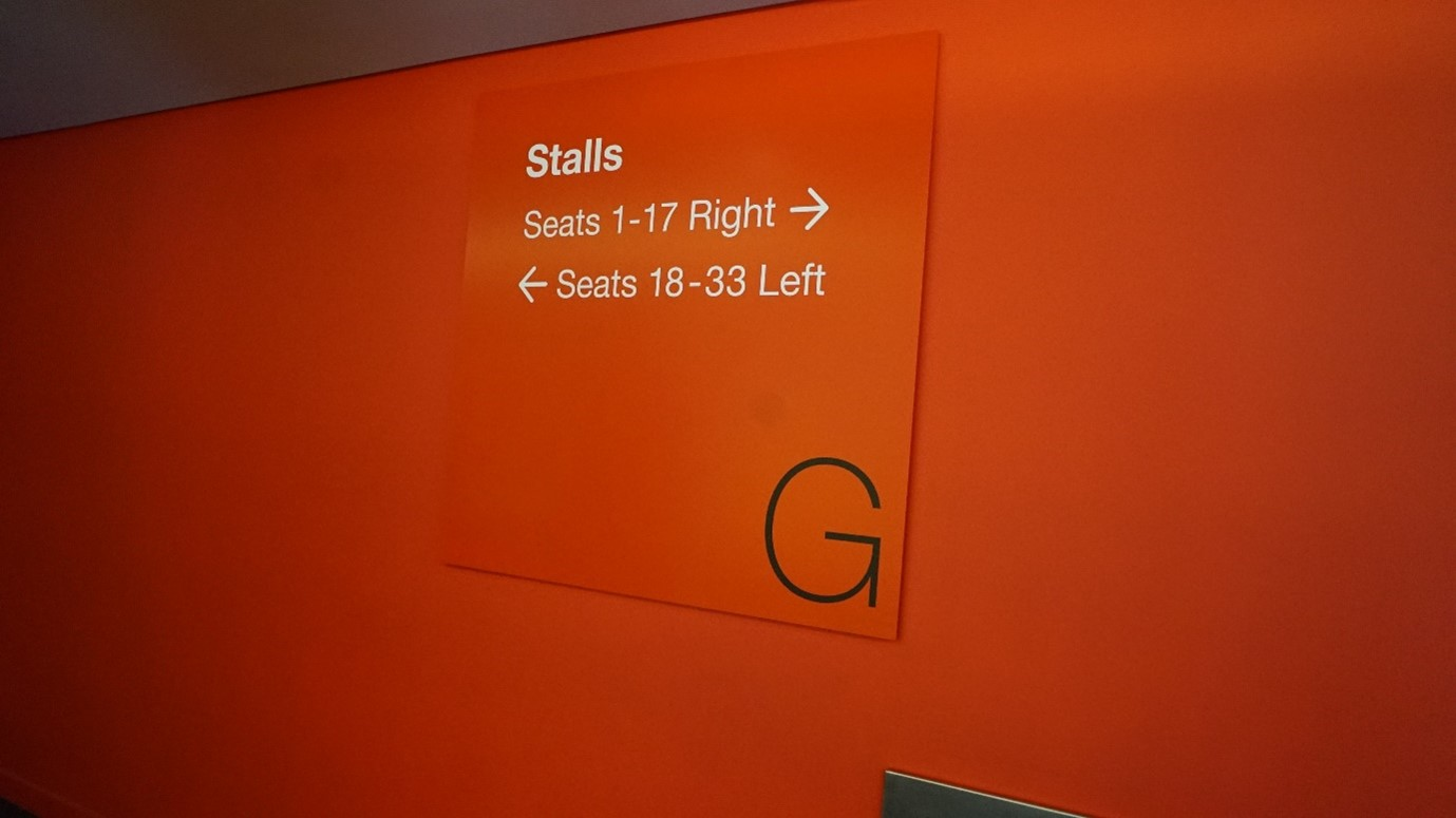 Sadler's Wells Theatreorange ground floor seats signage