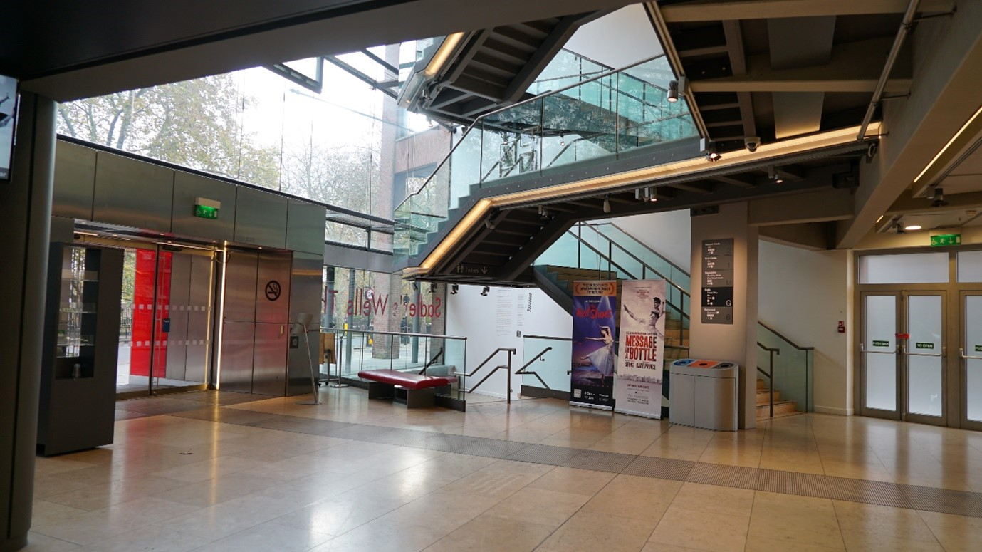Sadler's Wells Theatre stairs from the foyer