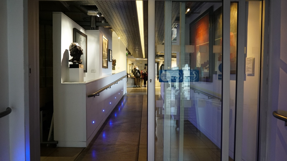 The sliding doors and hallway of the stage door entrance at Sadler's Wells Theatre